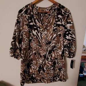Alfani NWT Multi Color Short Sleeve Blouse - 4